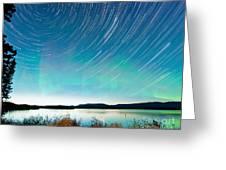 Startrails Aurora Borealis Display Lake Laberge Greeting Card