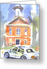 Stately Courthouse With Police Car Greeting Card