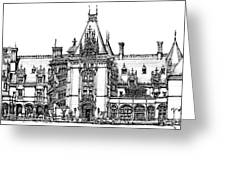 Stately Home In Ink Greeting Card by Adendorff Design
