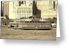 Staten Island Ferry In Sepia Greeting Card