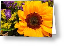 Statice And Sunflower Greeting Card