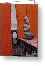 Statue At Wat Phnom Penh Cambodia Greeting Card