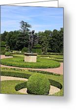 Statue In A Boxwood Garden Greeting Card