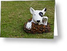 Statue Of A Dog Decorated On The Lawn Greeting Card by Tosporn Preede