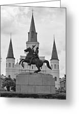 Statue Of Andrew Jackson In Black And White Greeting Card