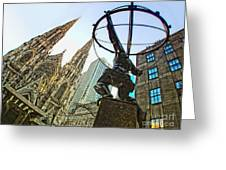 Statue Of Atlas Facing St.patrick's Cathedral Greeting Card
