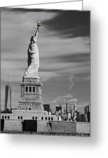 Statue Of Liberty And The Freedom Tower Greeting Card