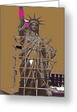 Statue Of Liberty Being Built 1876-1881 Paris Collage Pierre Petit                     Greeting Card