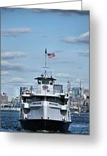 Statue Of Liberty Ferry Greeting Card