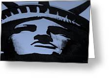 Statue Of Liberty In Dark Cyan Greeting Card