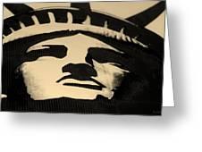 Statue Of Liberty In Dark Sepia Greeting Card