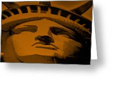 Statue Of Liberty In Orange Greeting Card