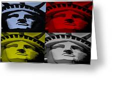 Statue Of Liberty In Quad Colors Greeting Card