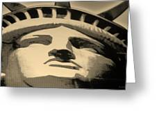 Statue Of Liberty In Sepia Greeting Card