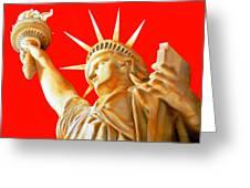 S T A T U E . O F . L I B E R T Y .  In Red Greeting Card