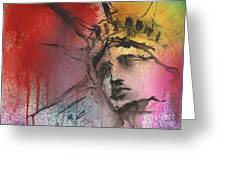 Statue Of Liberty New York Painting Greeting Card