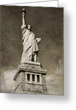 Statue Of Liberty Sepia Greeting Card