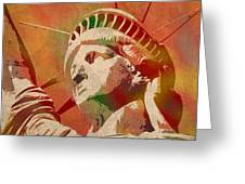 Statue Of Liberty Watercolor Portrait No 1 Greeting Card