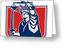 Statue Of Liberty Wielding Sword Scales Justice Greeting Card