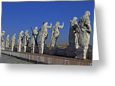 Statues On Facade Of St Peters Greeting Card