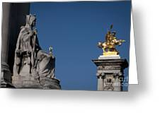 Statues On Pont Alexandre IIi Greeting Card