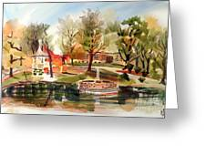 Ste. Marie Du Lac With Gazebo And Pond I Greeting Card