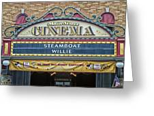 Steam Boat Willie Signage Main Street Disneyland 01 Greeting Card