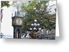 Steam Clock At Gastown In Vancouver Bc Greeting Card