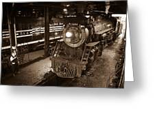 Steam Engine And Engineer Greeting Card