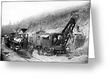Steam Locomotive And Steam Shovel 1882 Greeting Card by Daniel Hagerman