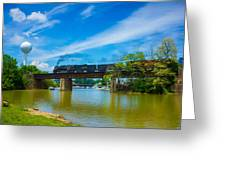 Steam Locomotive Crossing Bridge Greeting Card