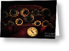 Rare Steam Locomotive Engine Cab Knobs And Controls Greeting Card