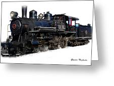 Steam Locomotive Greeting Card by Gunter Nezhoda
