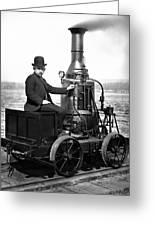Steam Powered Rail Cart C. 1892 Greeting Card