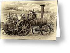Steam Powered Tractor Sepia Greeting Card