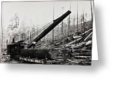 Steam Loader Loading Logs C. 1890 Greeting Card