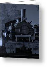 Steam Train At Night Greeting Card
