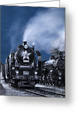 Steam Train In The Night Greeting Card