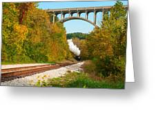 Steam Train Rounding The Curve Greeting Card
