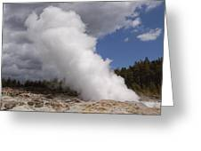 Steamboat Geyser Yellowstone Np Greeting Card
