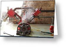 Steaming Red V Greeting Card
