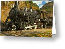 Steaming Through The Fall Greeting Card