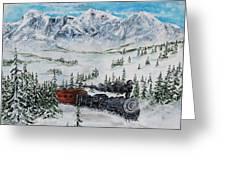 Steaming Thru The Rockies Greeting Card