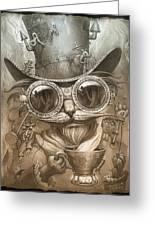 Steampunk Cat Greeting Card
