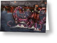 Steampunk - Enteroctopus Magnificus Roboticus Greeting Card by Mike Savad