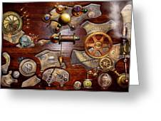 Steampunk - Gears - Reverse Engineering Greeting Card by Mike Savad