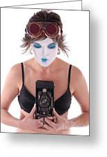Steampunk Geisha Photographer II Greeting Card