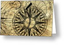 Steampunk Gold Compass Greeting Card