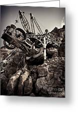 Steampunk Land Boring Machine At Disneysea Black And White Greeting Card