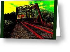 Steampunk Railroad Truss Bridge Greeting Card
